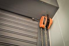 Chain steel door chain sling. Orange Stock Photo