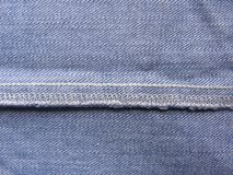 Chain stitch and Over Edge Stitch. On light blue color jeans royalty free stock photos