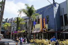 Chain Of Stores. On the right side are the chain of stores including Crepe Café Wolfgang puck Gift Shop and other stores located inside of thee Universal Stock Photography