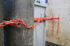 The chain is for storing gas tanks. In factory Royalty Free Stock Photos