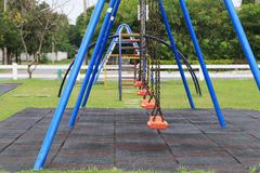 Chain swings on kids playground Royalty Free Stock Images