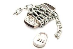 chain telefonwhite för bakgrund arkivfoto