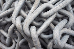 Chain texture. Top view of hard weathered chain Royalty Free Stock Images