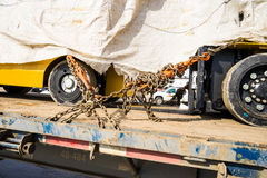 Chain Tiedown secured cargo Royalty Free Stock Photos