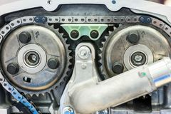 Chain of timing and two sprockets of camshafts. stock photos