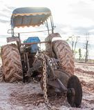 Chain of the tractor with  the mud Royalty Free Stock Photos