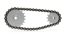 Chain transmission on white background, 3d rendering. stock illustration
