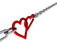 Chain with two hearts Royalty Free Stock Images