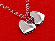 Chain with two hearts. 3d Royalty Free Stock Image