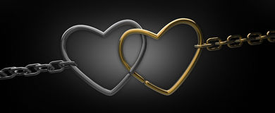 Chain with two hearts on black. Background 3d render Stock Image