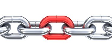 Chain and unique red link. 3d illustration isolated Stock Images