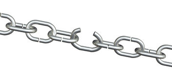 Chain With Weak Open Link. Metal chain links on whte with one weak open link. On white background and includes clipping path. Good reflections on links Royalty Free Stock Photo