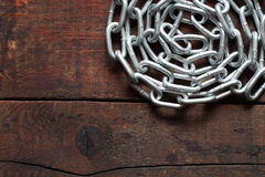 Chain On Wood Royalty Free Stock Photo