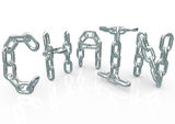 Chain Word in Metal Links Connected Stock Photography