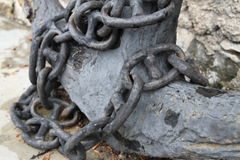 Chain wrapped around the anchor Stock Photography