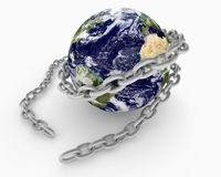 Chain wrapped around Earth globe Royalty Free Stock Photos