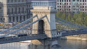 Chainbridge in Budapest closeup footage stock footage