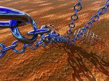 Chained. A 3D bryce rendered picture, a chained world, Anchor point Royalty Free Stock Image