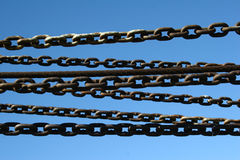 Chained. Chains at a harbor Royalty Free Stock Photo