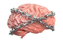 Chained brain, 3D rendering. On white background Royalty Free Stock Images