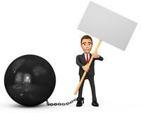 Chained businessman with poster. 3d chained businessman with poster Royalty Free Stock Images