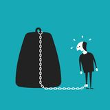 Chained businessman vector concept in flat cartoon style.  Stock Photo