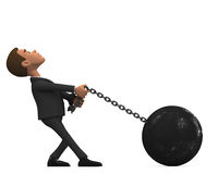 Chained businessman on white background Stock Images