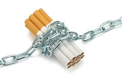Chained cigarettes a Conceptual image. Stock Images