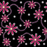 Chained flowers. Seamless ornament made of purple flowers on black Royalty Free Stock Photography
