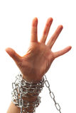 Chained hand. Isolated on white background Royalty Free Stock Photos
