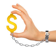 Chained hand holding dollar icon. Isolated on white background Stock Images