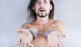 Chained in handcuffs guy Royalty Free Stock Photos