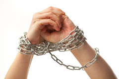 Chained hands Royalty Free Stock Images