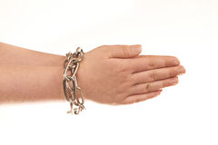 Chained hands. Isolated on white background Royalty Free Stock Image