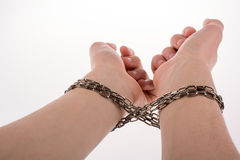 Chained hands. Hands in chains on a white background Royalty Free Stock Photos