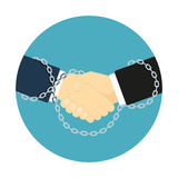 Chained handshake icon Royalty Free Stock Photos