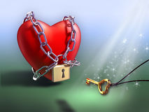 Chained heart. Magical key freeing an heart from its chains. Digital illustration Stock Photography