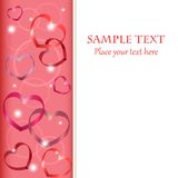 Chained hearts. Vertical border with heart shaped symbols and place for your text Stock Photos