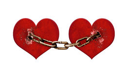 Chained Hearts Digital Collage Illustration Stock Photos