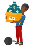 Chained man with bags full of taxes Royalty Free Stock Photography