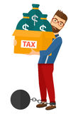 Chained man with bags full of taxes Royalty Free Stock Photos