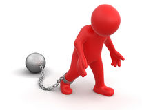 Chained man (clipping path included) Royalty Free Stock Image
