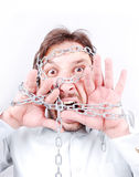 Chained man screaming Royalty Free Stock Photos