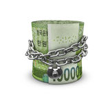 Chained money roll South Korean won Stock Photo