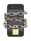 Chained And Padlocked Smartphone. A smartphone wrapped in a metal chain and secured with a brass padlock denoting internet seurity on an isolated background Stock Image