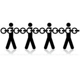 Chained people. Concept illustration showing stick figures chained to each other Royalty Free Stock Images