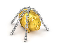 Chained piggy bank Stock Photo