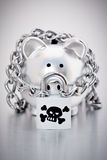 Chained silver piggy bank Royalty Free Stock Photography