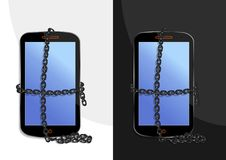 Chained smartphone - cdr format royalty free stock photos