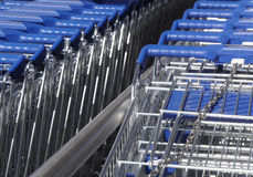 Chained supermarket trolleys Royalty Free Stock Photos